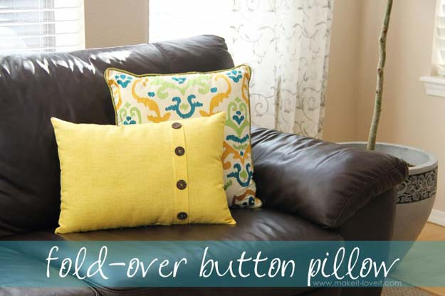 DIY Pillows and Fun Pillow Projects - DIY Fold-Over Button Pillow - Creative, Decorative Cases and Covers, Throw Pillows, Cute and Easy Tutorials for Making Crafty Home Decor - Sewing Tutorials and No Sew Ideas for Room and Bedroom Decor for Teens, Teenagers and Adults