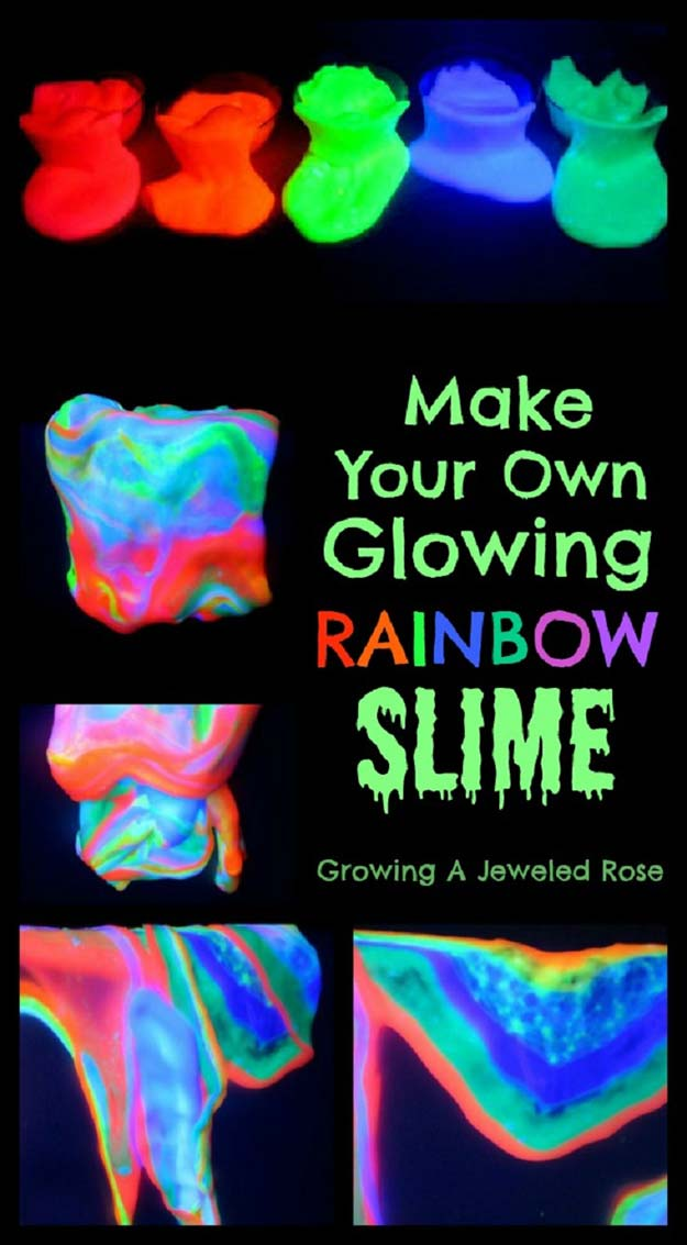 Best DIY Slime Recipes - DIY Glowing Rainbow Slime - Cool and Easy Slime Recipe Ideas Without Glue, Without Borax, For Kids, With Liquid Starch, Cornstarch and Laundry Detergent - How to Make Slime at Home - Fun Crafts and DIY Projects for Teens, Kids, Teenagers and Teens - Galaxy and Glitter Slime, Edible Slime #slime #slimerecipes #slimes #diyslime #teencrafts #diyslime