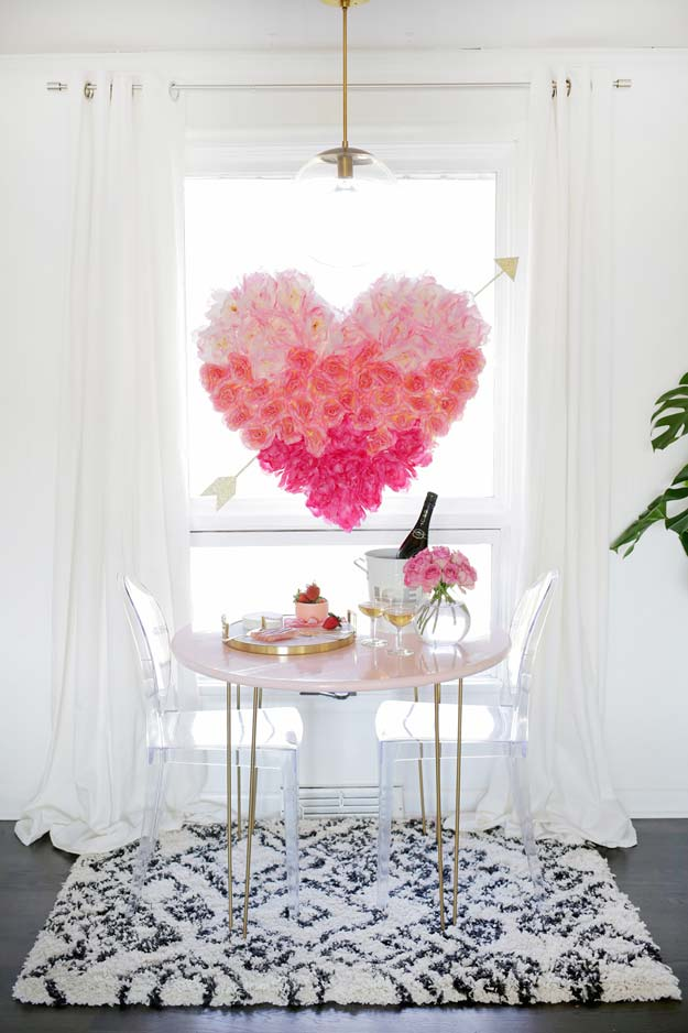 Pink DIY Room Decor Ideas - DIY Hanging Flower Heart - Cool Pink Bedroom Crafts and Projects for Teens, Girls, Teenagers and Adults - Best Wall Art Ideas, Room Decorating Project Tutorials, Rugs, Lighting and Lamps, Bed Decor and Pillows #teencrafts #roomdecor #pink