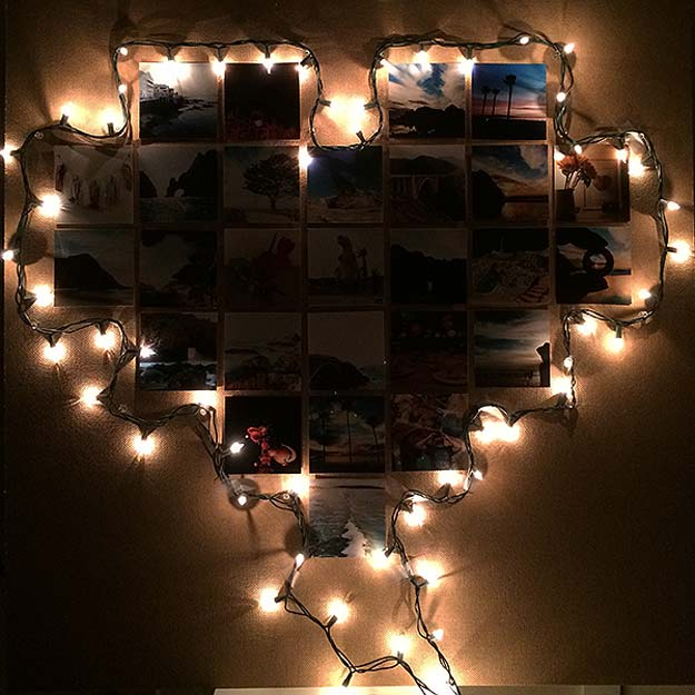 Cool Ways To Use Christmas Lights - DIY Heart Frame - Best Easy DIY Ideas for String Lights for Room Decoration, Home Decor and Creative DIY Bedroom Lighting - Creative Christmas Light Tutorials with Step by Step Instructions - Creative Crafts and DIY Projects for Teens, Teenagers and Adults http://diyprojectsforteens.com/diy-projects-string-lights