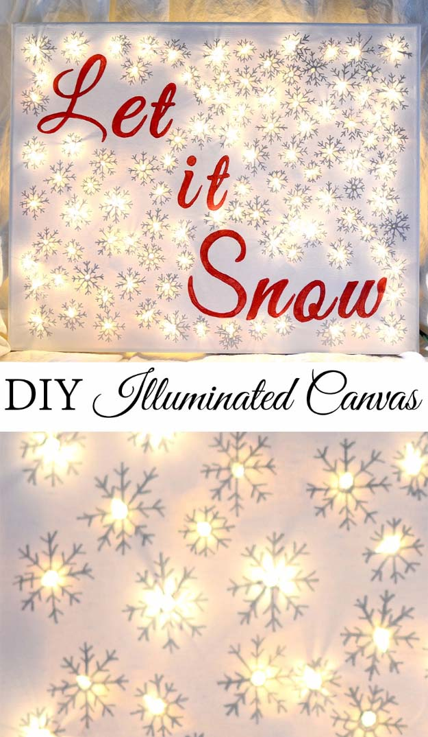 Cool Ways To Use Christmas Lights - DIY Illuminated Canvas - Best Easy DIY Ideas for String Lights for Room Decoration, Home Decor and Creative DIY Bedroom Lighting - Creative Christmas Light Tutorials with Step by Step Instructions - Creative Crafts and DIY Projects for Teens, Teenagers and Adults #diyideas #stringlights #diydecor #teencrafts