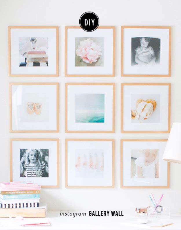 Pink DIY Room Decor Ideas - DIY Instagram Gallery Wall - Cool Pink Bedroom Crafts and Projects for Teens, Girls, Teenagers and Adults - Best Wall Art Ideas, Room Decorating Project Tutorials, Rugs, Lighting and Lamps, Bed Decor and Pillows http://diyprojectsforteens.com/diy-bedroom-ideas-pink