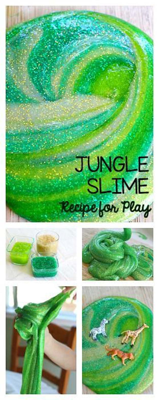 Best DIY Slime Recipes - DIY Jungle Slime - Cool and Easy Slime Recipe Ideas Without Glue, Without Borax, For Kids, With Liquid Starch, Cornstarch and Laundry Detergent - How to Make Slime at Home - Fun Crafts and DIY Projects for Teens, Kids, Teenagers and Teens - Galaxy and Glitter Slime, Edible Slime #slime #slimerecipes #slimes #diyslime #teencrafts #diyslime