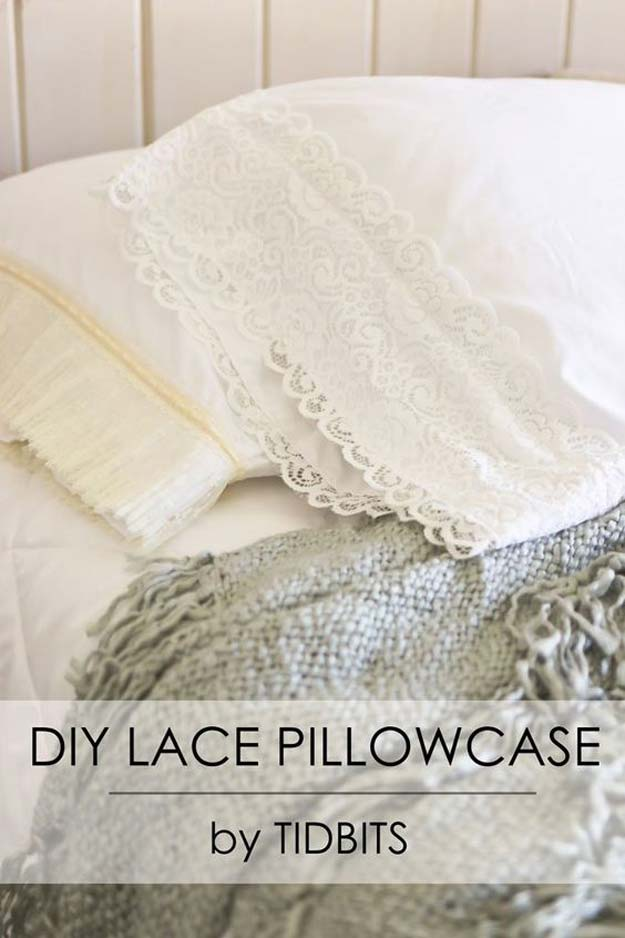 Cool DIY Ideas for Your Bed - DIY Lace Pillowcase - Fun Bedding, Pillows, Blankets, Home Decor and Crafts to Make Your Bedroom Awesome - Easy Step by Step Tutorials for Making A T-Shirt Pillow, Knit Throws, Fuzzy and Furry Warm Blankets and Handmade DYI Bedding, Sheets, Bedskirts and Shams