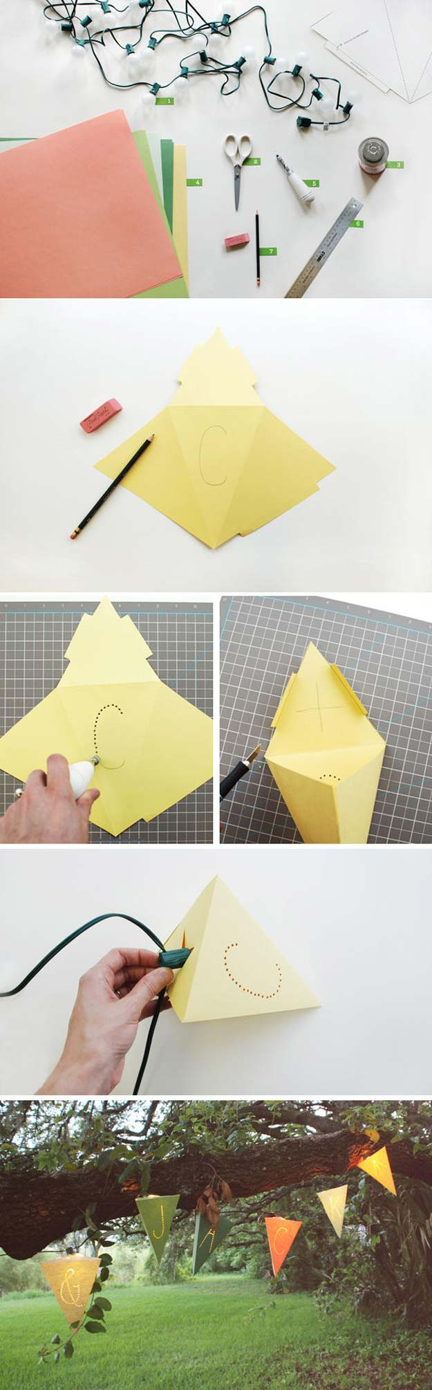Cool Ways To Use Christmas Lights - DIY Lighted Paper Pennant Garland - Best Easy DIY Ideas for String Lights for Room Decoration, Home Decor and Creative DIY Bedroom Lighting - Creative Christmas Light Tutorials with Step by Step Instructions - Creative Crafts and DIY Projects for Teens, Teenagers and Adults http://diyprojectsforteens.com/diy-projects-string-lights