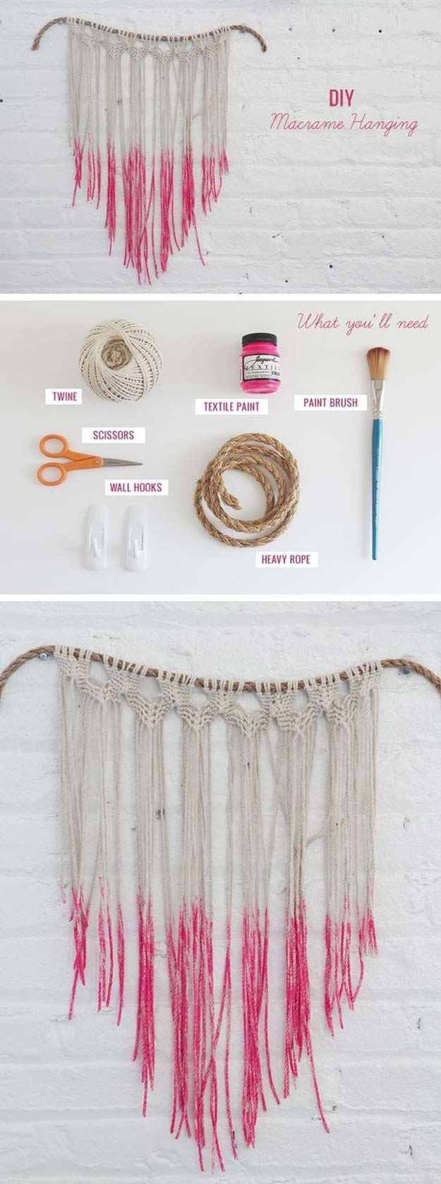 Pink DIY Room Decor Ideas - DIY Macrame Hanging - Cool Pink Bedroom Crafts and Projects for Teens, Girls, Teenagers and Adults - Best Wall Art Ideas, Room Decorating Project Tutorials, Rugs, Lighting and Lamps, Bed Decor and Pillows #teencrafts #roomdecor #pink