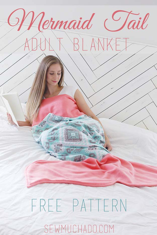 Cool DIY Ideas for Your Bed - DIY Mermaid Tail Adult Blanket - Fun Bedding, Pillows, Blankets, Home Decor and Crafts to Make Your Bedroom Awesome - Easy Step by Step Tutorials for Making A T-Shirt Pillow, Knit Throws, Fuzzy and Furry Warm Blankets and Handmade DYI Bedding, Sheets, Bedskirts and Shams