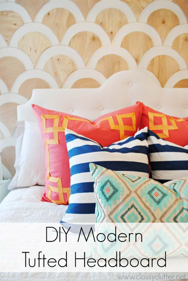 Cool DIY Ideas for Your Bed - DIY Modern Tufted Headboard - Fun Bedding, Pillows, Blankets, Home Decor and Crafts to Make Your Bedroom Awesome - Easy Step by Step Tutorials for Making A T-Shirt Pillow, Knit Throws, Fuzzy and Furry Warm Blankets and Handmade DYI Bedding, Sheets, Bedskirts and Shams http://diyprojectsforteens.com/diy-projects-bedding-teens