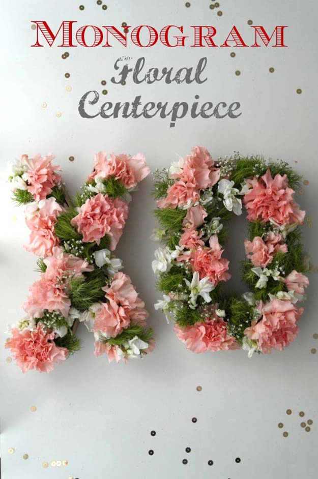 Pink DIY Room Decor Ideas - DIY Monogram Floral Centerpiece - Cool Pink Bedroom Crafts and Projects for Teens, Girls, Teenagers and Adults - Best Wall Art Ideas, Room Decorating Project Tutorials, Rugs, Lighting and Lamps, Bed Decor and Pillows #teencrafts #roomdecor #pink