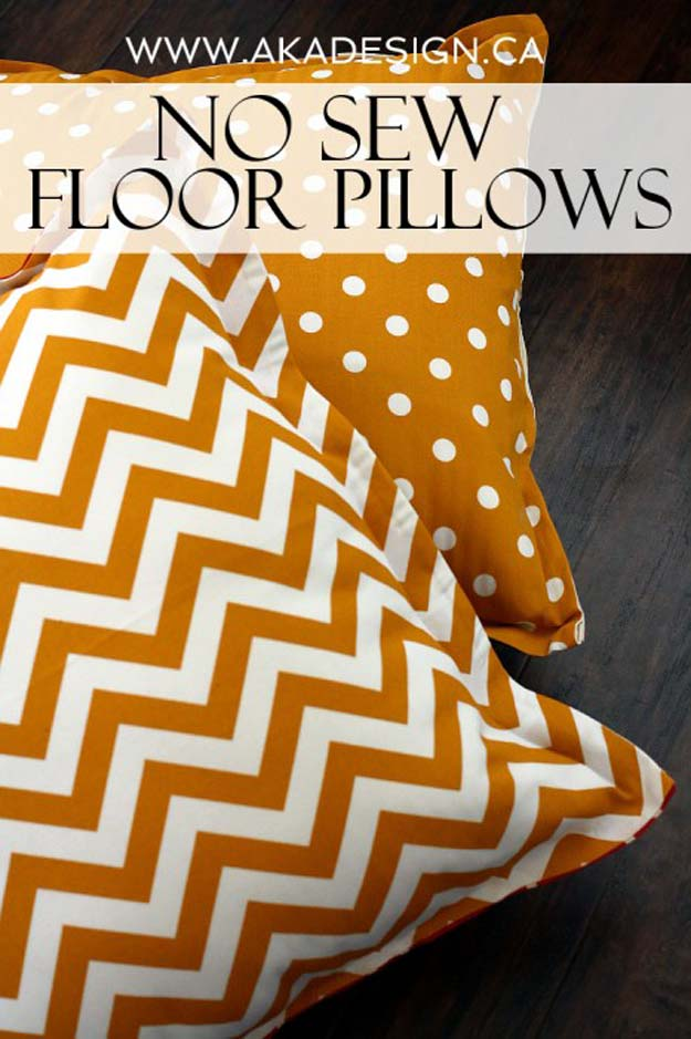 Cool DIY Ideas for Your Bed - DIY No-Sew Floor Pillows - Fun Bedding, Pillows, Blankets, Home Decor and Crafts to Make Your Bedroom Awesome - Easy Step by Step Tutorials for Making A T-Shirt Pillow, Knit Throws, Fuzzy and Furry Warm Blankets and Handmade DYI Bedding, Sheets, Bedskirts and Shams http://diyprojectsforteens.com/diy-projects-bedding-teens