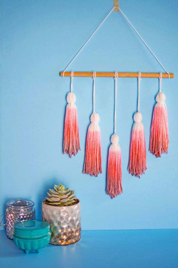 Pink DIY Room Decor Ideas - DIY Ombre Wall Tassels - Cool Pink Bedroom Crafts and Projects for Teens, Girls, Teenagers and Adults - Best Wall Art Ideas, Room Decorating Project Tutorials, Rugs, Lighting and Lamps, Bed Decor and Pillows #teencrafts #roomdecor #pink