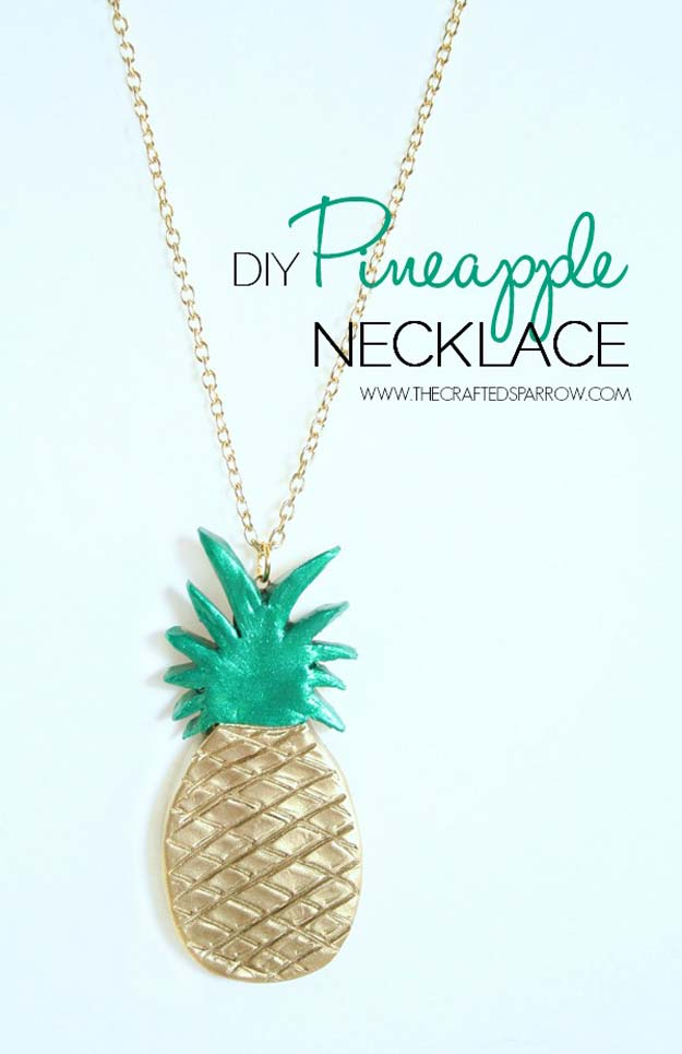 DIY Necklace Ideas - DIY Pineapple Necklace - Pendant, Beads, Statement, Choker, Layered Boho, Chain and Simple Looks - Creative Jewlery Making Ideas for Women and Teens, Girls - Crafts and Cool Fashion Ideas for Teenagers