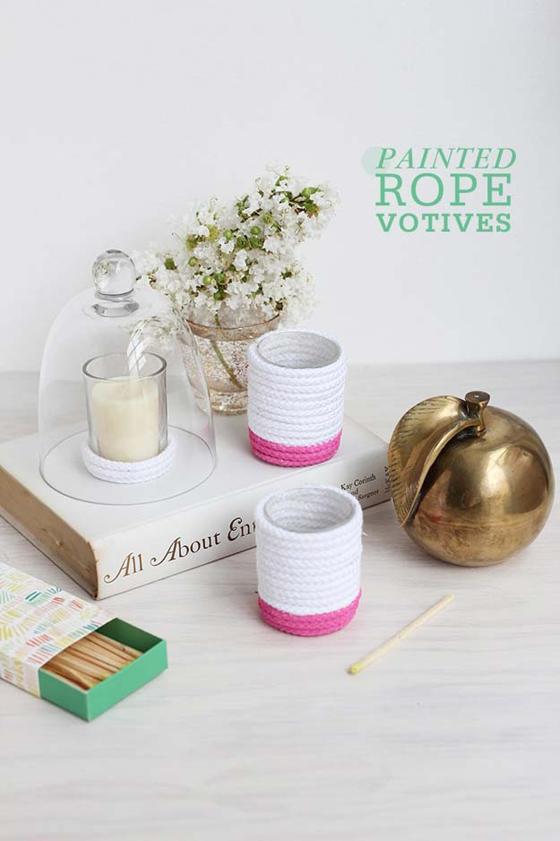 Pink DIY Room Decor Ideas - DIY Painted Ropes Votives - Cool Pink Bedroom Crafts and Projects for Teens, Girls, Teenagers and Adults - Best Wall Art Ideas, Room Decorating Project Tutorials, Rugs, Lighting and Lamps, Bed Decor and Pillows http://diyprojectsforteens.com/diy-bedroom-ideas-pink