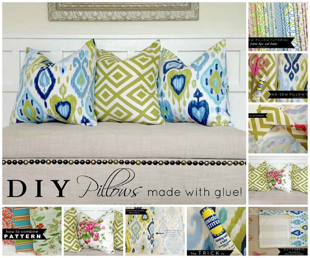 DIY Pillows and Fun Pillow Projects - DIY Pillows Made with Glue - Creative, Decorative Cases and Covers, Throw Pillows, Cute and Easy Tutorials for Making Crafty Home Decor - Sewing Tutorials and No Sew Ideas for Room and Bedroom Decor for Teens, Teenagers and Adults