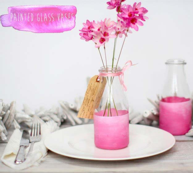 Pink DIY Room Decor Ideas - DIY Pink Painted Glass Vases - Cool Pink Bedroom Crafts and Projects for Teens, Girls, Teenagers and Adults - Best Wall Art Ideas, Room Decorating Project Tutorials, Rugs, Lighting and Lamps, Bed Decor and Pillows http://diyprojectsforteens.com/diy-bedroom-ideas-pink
