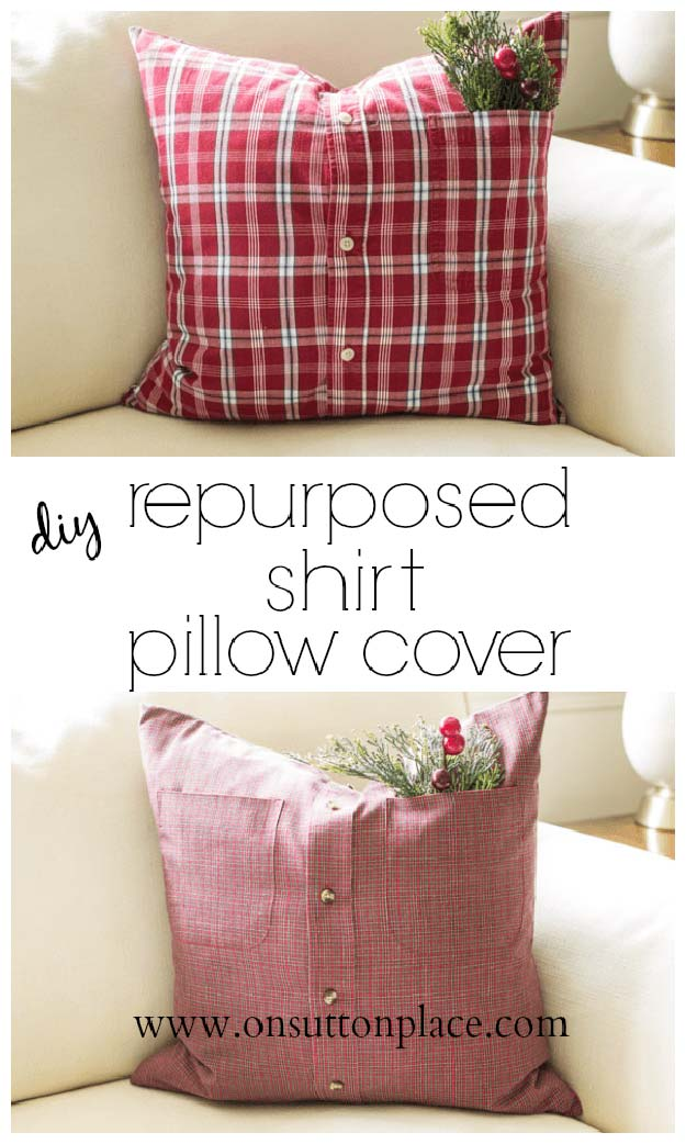 DIY Pillows and Fun Pillow Projects - DIY Repurposed Shirt Pillow Cover - Creative, Decorative Cases and Covers, Throw Pillows, Cute and Easy Tutorials for Making Crafty Home Decor - Sewing Tutorials and No Sew Ideas for Room and Bedroom Decor for Teens, Teenagers and Adults