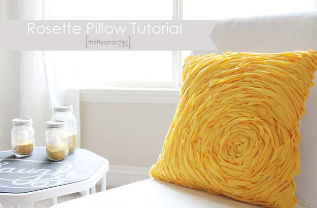 DIY Pillows and Fun Pillow Projects - DIY Rosette Pillow - Creative, Decorative Cases and Covers, Throw Pillows, Cute and Easy Tutorials for Making Crafty Home Decor - Sewing Tutorials and No Sew Ideas for Room and Bedroom Decor for Teens, Teenagers and Adults