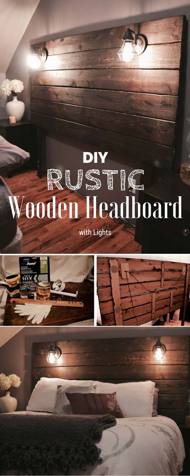 Cool DIY Ideas for Your Bed - DIY Rustic Wooden Headboard - Fun Bedding, Pillows, Blankets, Home Decor and Crafts to Make Your Bedroom Awesome - Easy Step by Step Tutorials for Making A T-Shirt Pillow, Knit Throws, Fuzzy and Furry Warm Blankets and Handmade DYI Bedding, Sheets, Bedskirts and Shams