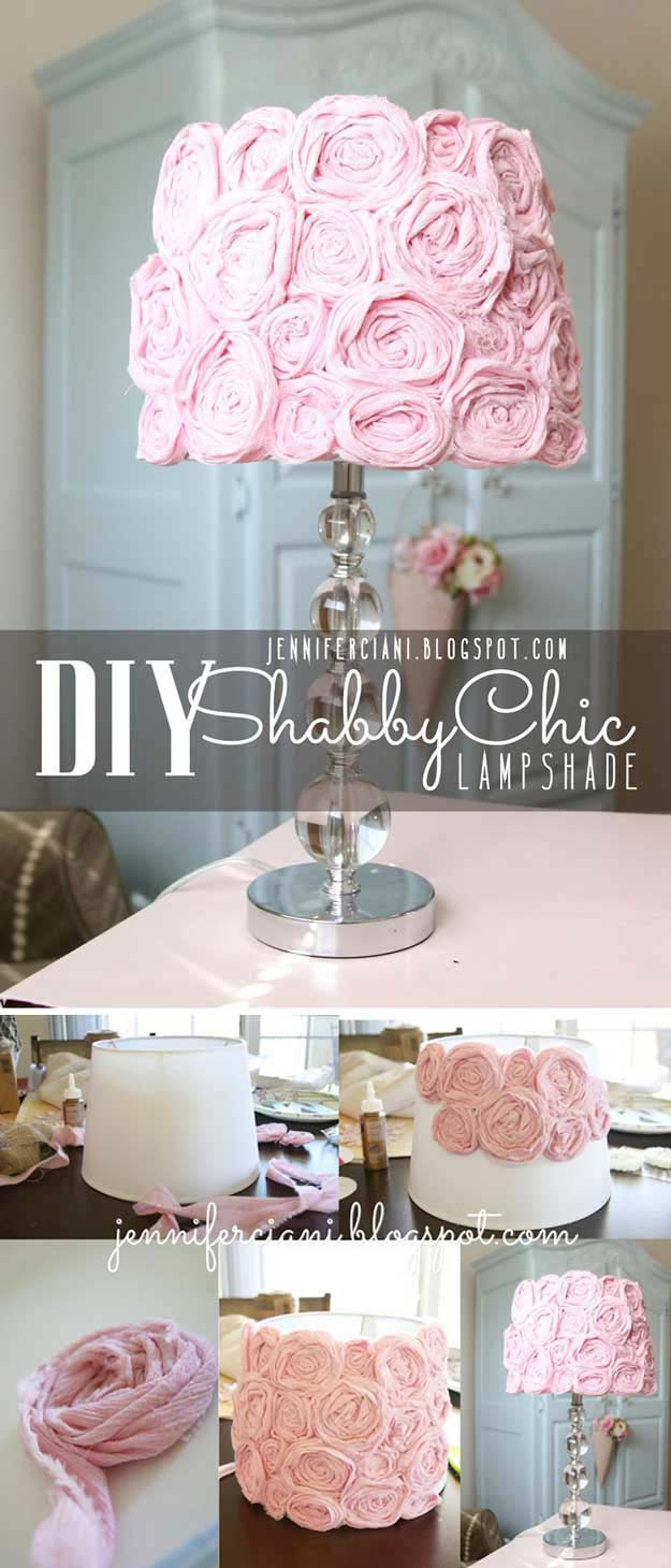Pink DIY Room Decor Ideas - DIY Shabby Chic Lamp Shade - Cool Pink Bedroom Crafts and Projects for Teens, Girls, Teenagers and Adults - Best Wall Art Ideas, Room Decorating Project Tutorials, Rugs, Lighting and Lamps, Bed Decor and Pillows #teencrafts #roomdecor #pink