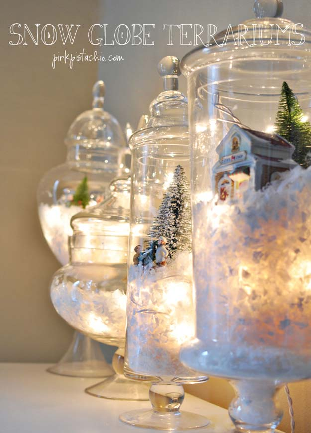 Cool Ways To Use Christmas Lights - DIY Snow Globes Terrariums - Best Easy DIY Ideas for String Lights for Room Decoration, Home Decor and Creative DIY Bedroom Lighting - Creative Christmas Light Tutorials with Step by Step Instructions - Creative Crafts and DIY Projects for Teens, Teenagers and Adults http://diyprojectsforteens.com/diy-projects-string-lights