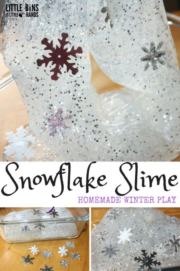 Best DIY Slime Recipes - DIY Winter Snowflakes Slime - Cool and Easy Slime Recipe Ideas Without Glue, Without Borax, For Kids, With Liquid Starch, Cornstarch and Laundry Detergent - How to Make Slime at Home - Fun Crafts and DIY Projects for Teens, Kids, Teenagers and Teens - Galaxy and Glitter Slime, Edible Slime http://diyprojectsforteens.com/diy-slime-recipes