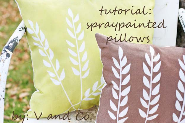 DIY Pillows and Fun Pillow Projects - DIY Spray Printed Wheat Pillow - Creative, Decorative Cases and Covers, Throw Pillows, Cute and Easy Tutorials for Making Crafty Home Decor - Sewing Tutorials and No Sew Ideas for Room and Bedroom Decor for Teens, Teenagers and Adults