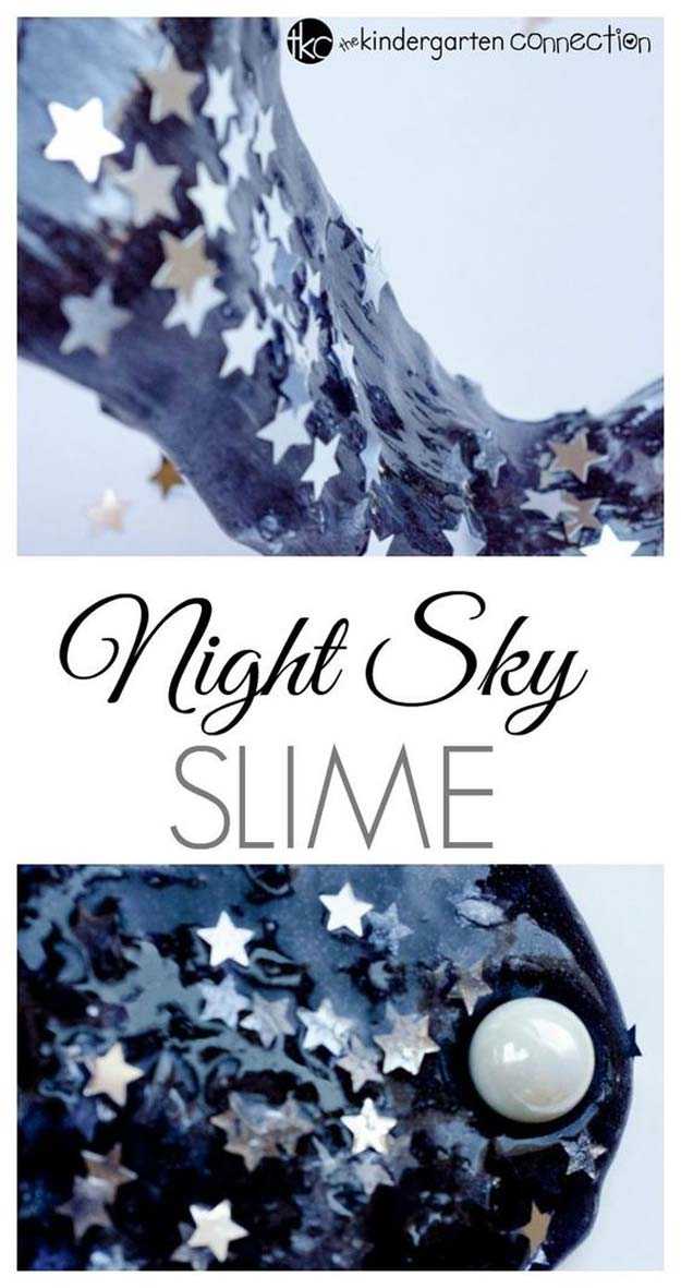 Best DIY Slime Recipes - DIY Starry Night Sky Slime - Cool and Easy Slime Recipe Ideas Without Glue, Without Borax, For Kids, With Liquid Starch, Cornstarch and Laundry Detergent - How to Make Slime at Home - Fun Crafts and DIY Projects for Teens, Kids, Teenagers and Teens - Galaxy and Glitter Slime, Edible Slime #slime #slimerecipes #slimes #diyslime #teencrafts #diyslime