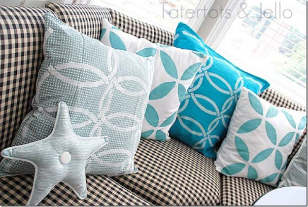 DIY Pillows and Fun Pillow Projects - DIY Stenciled Napkin Pillows - Creative, Decorative Cases and Covers, Throw Pillows, Cute and Easy Tutorials for Making Crafty Home Decor - Sewing Tutorials and No Sew Ideas for Room and Bedroom Decor for Teens, Teenagers and Adults