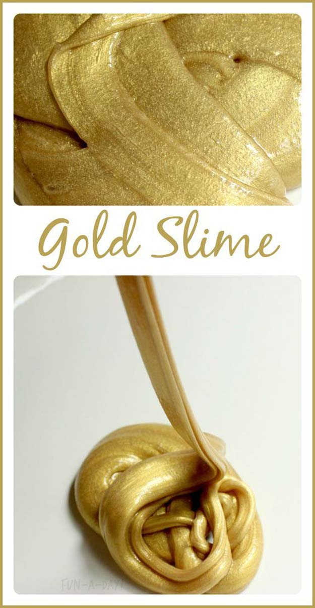 Best DIY Slime Recipes - DIY Super Easy Gold Slime - Cool and Easy Slime Recipe Ideas Without Glue, Without Borax, For Kids, With Liquid Starch, Cornstarch and Laundry Detergent - How to Make Slime at Home - Fun Crafts and DIY Projects for Teens, Kids, Teenagers and Teens - Galaxy and Glitter Slime, Edible Slime http://diyprojectsforteens.com/diy-slime-recipes