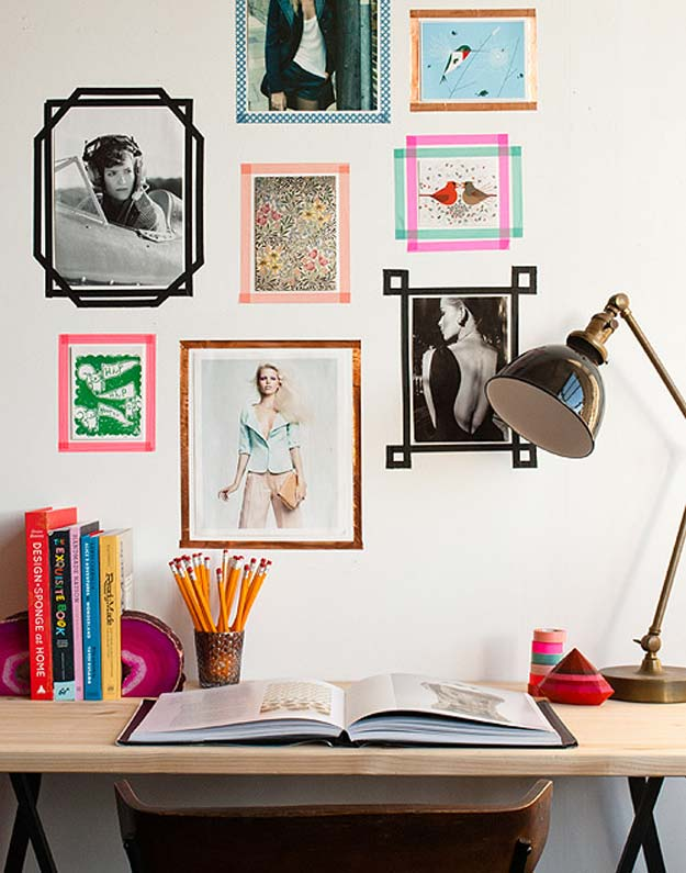Washi Tape Crafts - DIY Tape Picture Frame - DIY Projects Made With Washi Tape - Wall Art, Frames, Cards, Pencils, Room Decor and DIY Gifts, Back To School Supplies - Creative, Fun Craft Ideas for Teens, Tweens and Teenagers - Step by Step Tutorials and Instructions http://diyprojectsforteens.com/washi-tape-ideas