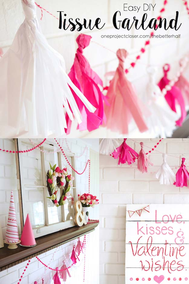 Pink DIY Room Decor Ideas - DIY Tissue Garland - Cool Pink Bedroom Crafts and Projects for Teens, Girls, Teenagers and Adults - Best Wall Art Ideas, Room Decorating Project Tutorials, Rugs, Lighting and Lamps, Bed Decor and Pillows #teencrafts #roomdecor #pink