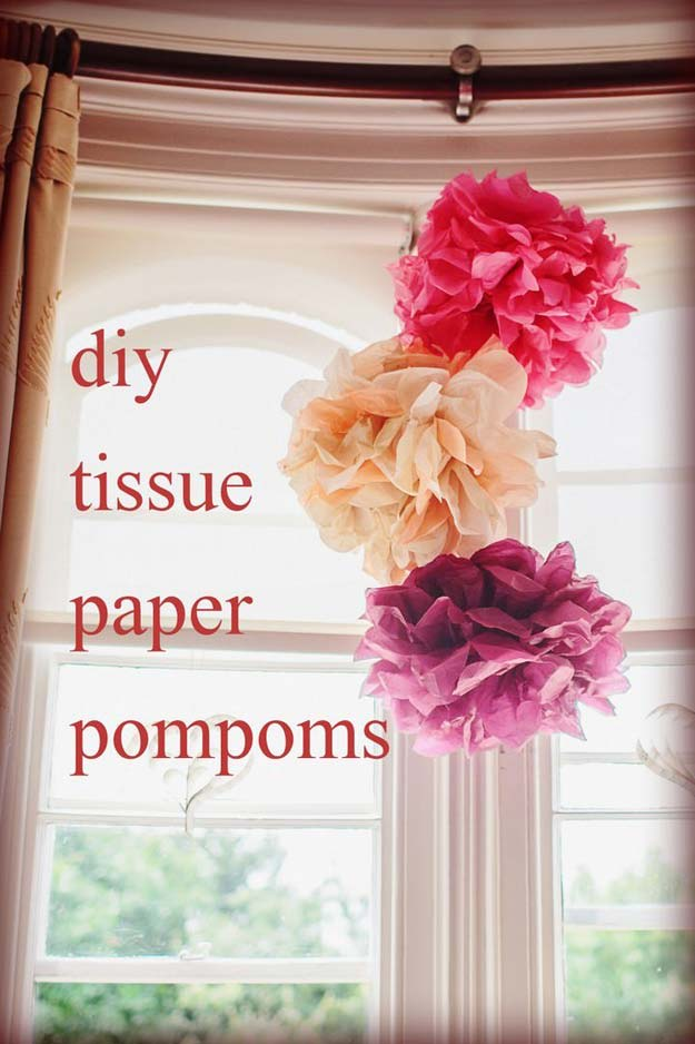 Cool DIY Room Decor Ideas in Red - DIY Tissue Paper Pom Poms - Creative Home Decor, Wall Art and Bedroom Crafts to Accent Your Red Room - Creative Craft Projects and Quick Arts and Crafts Ideas for Teens and Adults - Easy Ways To Decorate on A Budget http://diyprojectsforteens.com/diy-room-decor-red