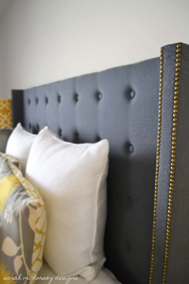 Cool DIY Ideas for Your Bed - DIY Tufted Headboard - Fun Bedding, Pillows, Blankets, Home Decor and Crafts to Make Your Bedroom Awesome - Easy Step by Step Tutorials for Making A T-Shirt Pillow, Knit Throws, Fuzzy and Furry Warm Blankets and Handmade DYI Bedding, Sheets, Bedskirts and Shams http://diyprojectsforteens.com/diy-projects-bedding-teens
