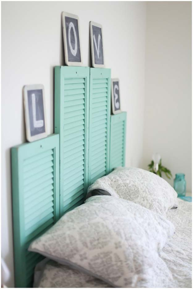 Cool DIY Ideas for Your Bed - DIY Vintage Shutter Head Board - Fun Bedding, Pillows, Blankets, Home Decor and Crafts to Make Your Bedroom Awesome - Easy Step by Step Tutorials for Making A T-Shirt Pillow, Knit Throws, Fuzzy and Furry Warm Blankets and Handmade DYI Bedding, Sheets, Bedskirts and Shams http://diyprojectsforteens.com/diy-projects-bedding-teens