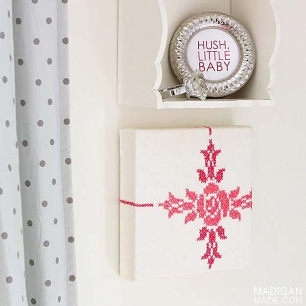 Cool DIY Room Decor Ideas in Red - DIY Wall Art With Vintage Fabric - Creative Home Decor, Wall Art and Bedroom Crafts to Accent Your Red Room - Creative Craft Projects and Quick Arts and Crafts Ideas for Teens and Adults - Easy Ways To Decorate on A Budget http://diyprojectsforteens.com/diy-room-decor-red