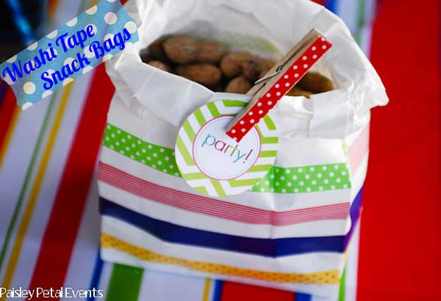 Washi Tape Crafts - DIY Washi Tape Snack Bag - DIY Projects Made With Washi Tape - Wall Art, Frames, Cards, Pencils, Room Decor and DIY Gifts, Back To School Supplies - Creative, Fun Craft Ideas for Teens, Tweens and Teenagers - Step by Step Tutorials and Instructions http://diyprojectsforteens.com/washi-tape-ideas