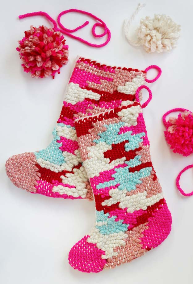 Pink DIY Room Decor Ideas - DIY Woven Stocking - Cool Pink Bedroom Crafts and Projects for Teens, Girls, Teenagers and Adults - Best Wall Art Ideas, Room Decorating Project Tutorials, Rugs, Lighting and Lamps, Bed Decor and Pillows http://diyprojectsforteens.com/diy-bedroom-ideas-pink