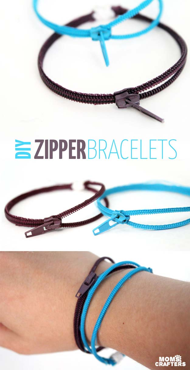 DIY Crafts Using Nail Polish - DIY Zipper Bracelets - Fun, Cool, Easy and Cheap Craft Ideas for Girls, Teens, Tweens and Adults | Wire Flowers, Glue Gun Craft Projects and Jewelry Made From nailpolish - Water Marble Tutorials and How To With Step by Step Instructions http://diyprojectsforteens.com/best-nail-polish-crafts
