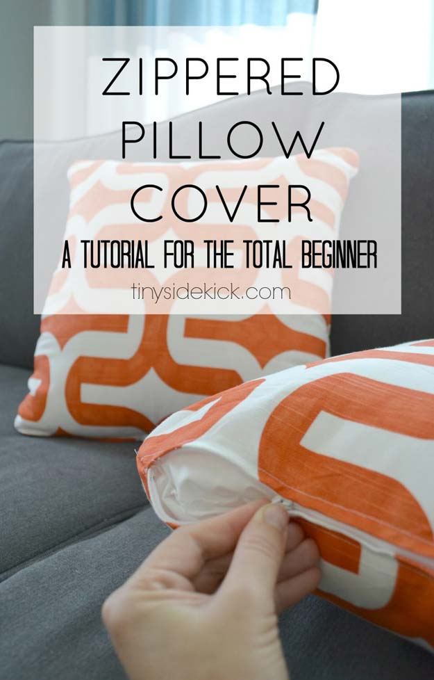 DIY Pillows and Fun Pillow Projects - DIY Zippered Pillow Cover - Creative, Decorative Cases and Covers, Throw Pillows, Cute and Easy Tutorials for Making Crafty Home Decor - Sewing Tutorials and No Sew Ideas for Room and Bedroom Decor for Teens, Teenagers and Adults