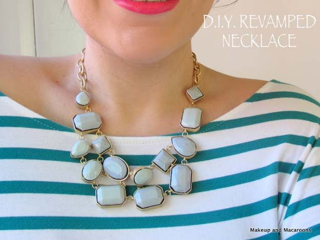 DIY Crafts Using Nail Polish - DIY - Revamp an Old Necklace with Nail Polish - Fun, Cool, Easy and Cheap Craft Ideas for Girls, Teens, Tweens and Adults | Wire Flowers, Glue Gun Craft Projects and Jewelry Made From nailpolish - Water Marble Tutorials and How To With Step by Step Instructions http://diyprojectsforteens.com/best-nail-polish-crafts