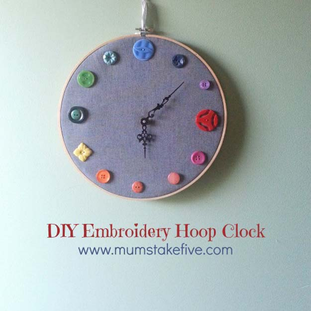 Step by Step Embroidery Tutorials - DIY Button Clock on Embroidery Hoop - Awesome Embroidery Projects for Teens - Cool Embroidery Crafts for Girls - Embroidery Designs - Best Embroidery Wall Art, Room Decor - Great Embroidery Gifts, Free Embroidery Patterns http://diyprojectsforteens.com/cool-embroidery-projects-teens
