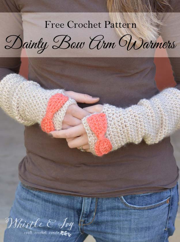 Crochet Patterns and Projects for Teens - Dainty Bow Crochet Arm Warmers - Best Free Patterns and Tutorials for Crocheting Cute DIY Gifts, Room Decor and Accessories - How To for Beginners - Learn How To Make a Headband, Scarf, Hat, Animals and Clothes DIY Projects and Crafts for Teenagers #crochet #crafts #teencrafts #freecrochet #crochetpatterns
