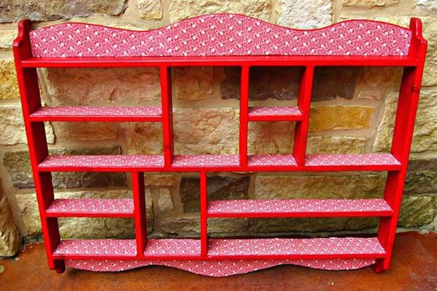 Cool DIY Room Decor Ideas in Red - Decoupage a Goodwill Shelf - Creative Home Decor, Wall Art and Bedroom Crafts to Accent Your Red Room - Creative Craft Projects and Quick Arts and Crafts Ideas for Teens and Adults - Easy Ways To Decorate on A Budget http://diyprojectsforteens.com/diy-room-decor-red