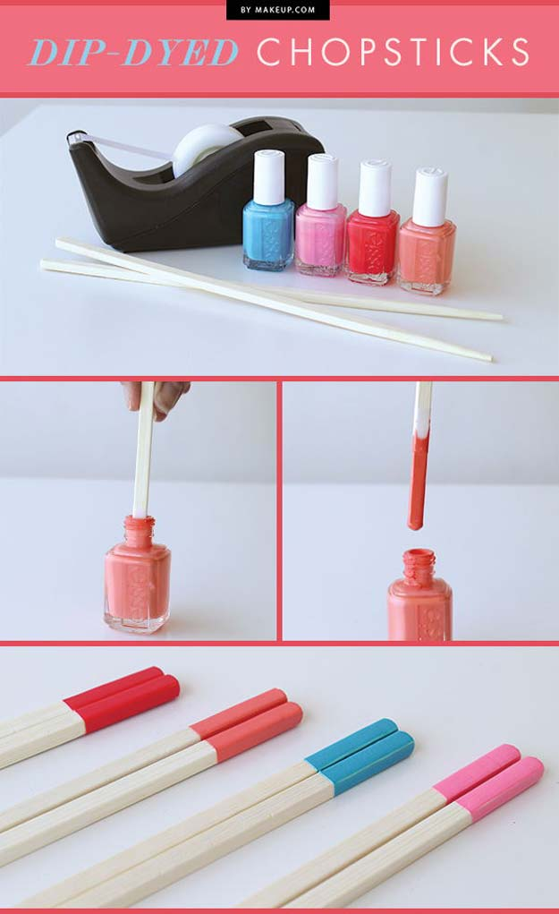 DIY Crafts Using Nail Polish - Dip-Dyed Chopsticks - Fun, Cool, Easy and Cheap Craft Ideas for Girls, Teens, Tweens and Adults | Wire Flowers, Glue Gun Craft Projects and Jewelry Made From nailpolish - Water Marble Tutorials and How To With Step by Step Instructions http://diyprojectsforteens.com/best-nail-polish-crafts