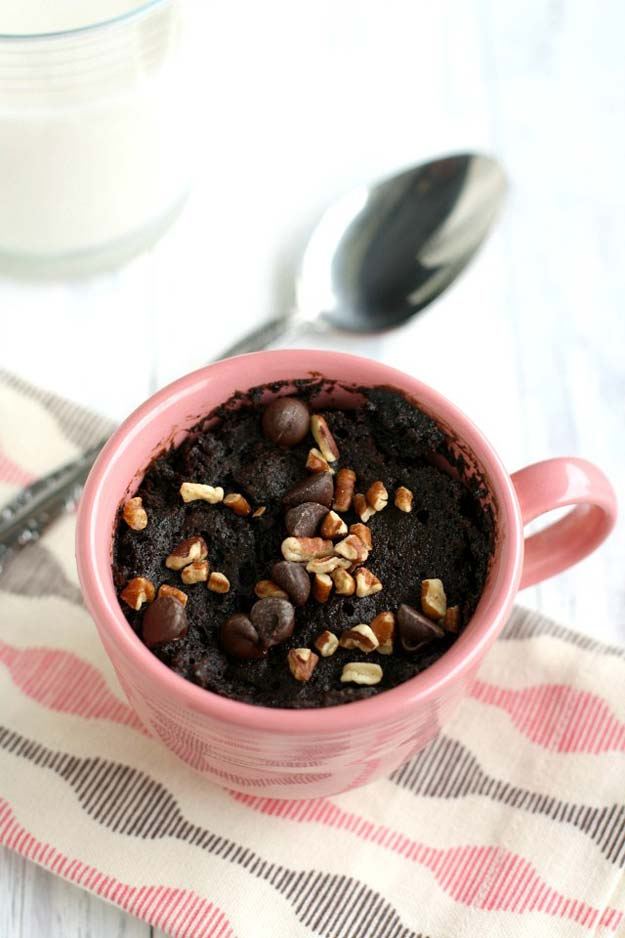 Easy Mug Cake Recipes - Double Chocolate Cake in a Mug - Best Microwave Cakes and Ideas for Baking Ckae in The Microwave - Chocolate, Vanilla, Healthy, Snickerdoodle, Peanut Butter, Bownie and Nutella - Step by Step Tutorials and Instructions - Besy DIY Projects and Recipes for Teens and Teenagers - http://diyprojectsforteens.com/easy-mug-cake-recipes