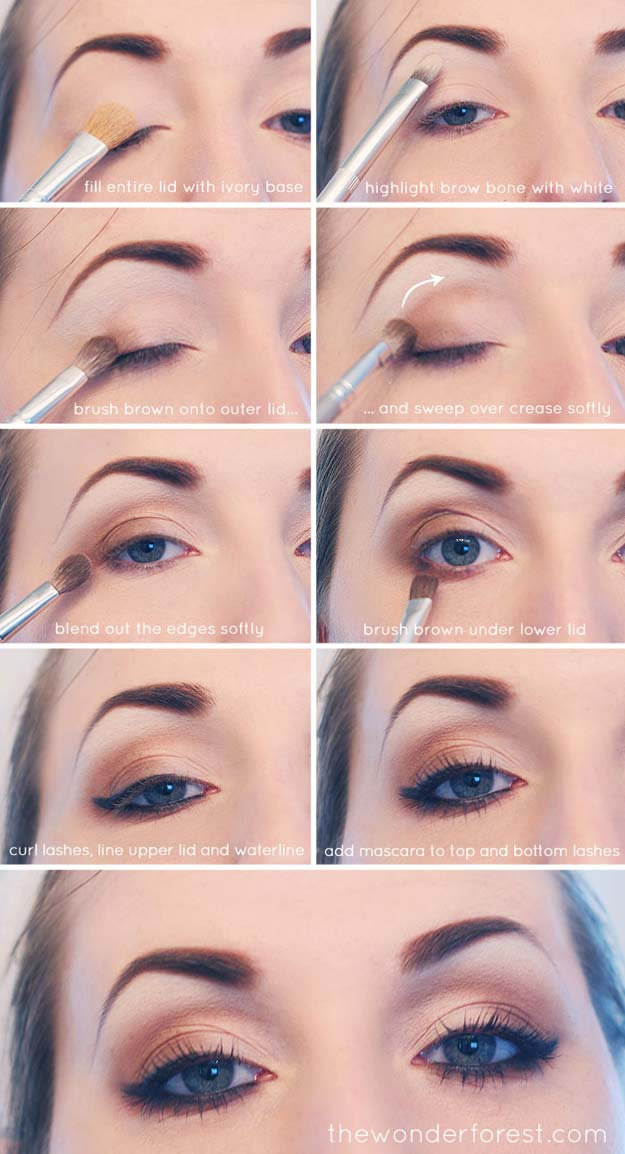 Best Eyeshadow Tutorials - Everyday Neutral Smokey Eye Tutorial - Easy Step by Step How To For Eye Shadow - Cool Makeup Tricks and Eye Makeup Tutorial With Instructions - Quick Ways to Do Smoky Eye, Natural Makeup, Looks for Day and Evening, Brown and Blue Eyes - Cool Ideas for Beginners and Teens http://diyprojectsforteens.com/best-eyeshadow-tutorials