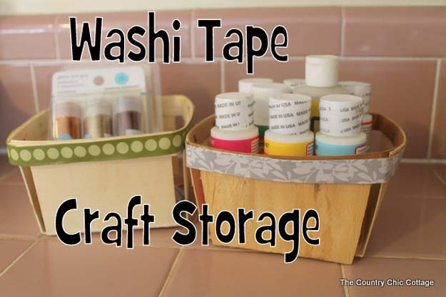 Washi Tape Crafts - Easy Washi Tape Craft Storage Idea - DIY Projects Made With Washi Tape - Wall Art, Frames, Cards, Pencils, Room Decor and DIY Gifts, Back To School Supplies - Creative, Fun Craft Ideas for Teens, Tweens and Teenagers - Step by Step Tutorials and Instructions http://diyprojectsforteens.com/washi-tape-ideas