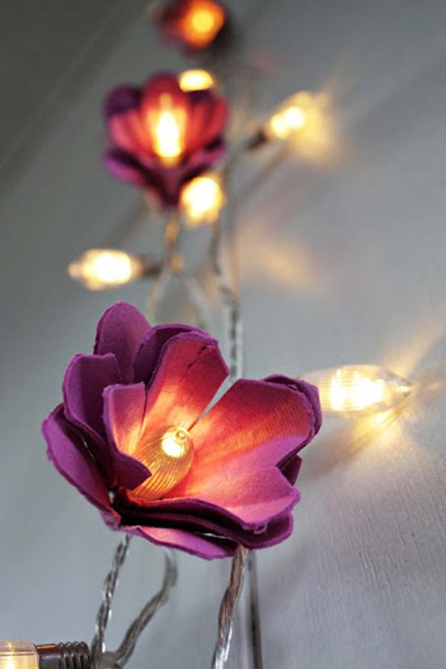 Cool Ways To Use Christmas Lights - Egg Carton Flower Lights - Best Easy DIY Ideas for String Lights for Room Decoration, Home Decor and Creative DIY Bedroom Lighting - Creative Christmas Light Tutorials with Step by Step Instructions - Creative Crafts and DIY Projects for Teens, Teenagers and Adults #diyideas #stringlights #diydecor #teencrafts