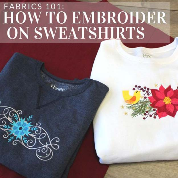 Step by Step Embroidery Tutorials - How To Embroider Sweatshirts and Tshirts - Awesome Embroidery Projects for Teens - Cool Embroidery Crafts for Girls - Embroidery Designs - Best Embroidery Wall Art, Room Decor - Great Embroidery Gifts, Free Embroidery Patterns http://diyprojectsforteens.com/cool-embroidery-projects-teens