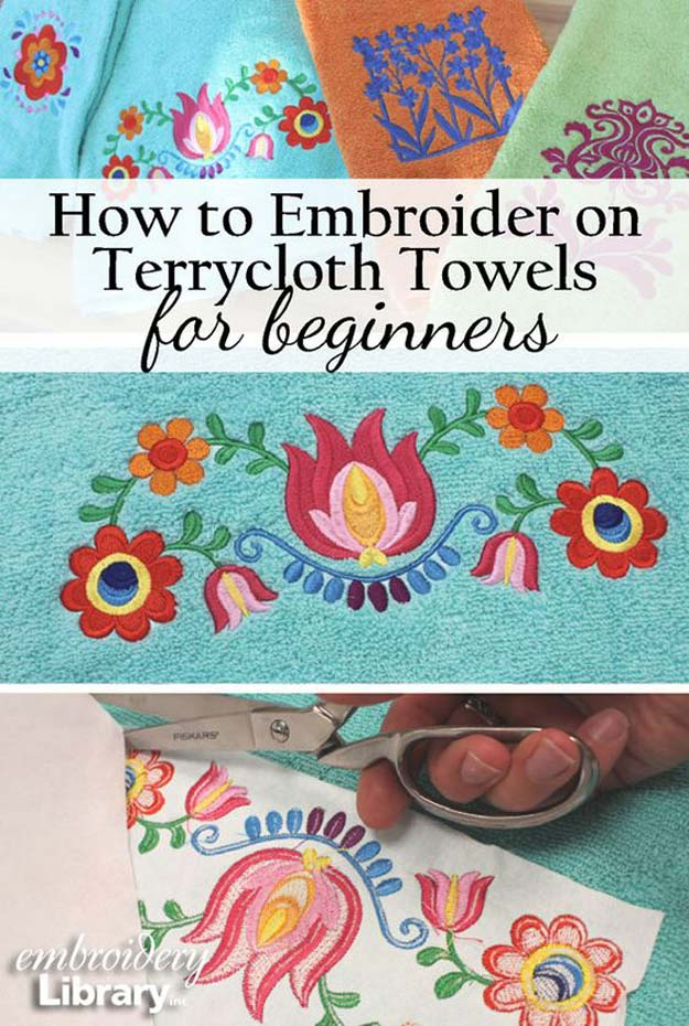 Cool Embroidery Projects for Teens - Step by Step Embroidery Tutorials - Embroidering on Terrycloth Towels - Awesome Embroidery Projects for Teenagers - Cool Embroidery Crafts for Girls - Creative Embroidery Designs - Best Embroidery Wall Art, Room Decor - Great Embroidery Gifts, Free Embroidery Patterns for Girls, Women and Tweens http://diyprojectsforteens.com/cool-embroidery-projects-teens